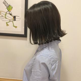ナチュラル 外ハネ ロブ ハイライト ヘアスタイルや髪型の写真・画像