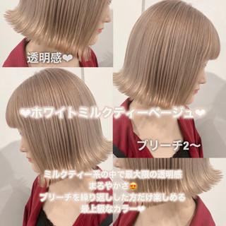 ミルクティーグレージュ ブリーチカラー ミニボブ ナチュラル ヘアスタイルや髪型の写真・画像