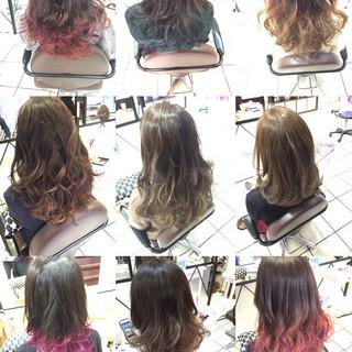 モード ミディアム グラデーションカラー ダブルカラー ヘアスタイルや髪型の写真・画像
