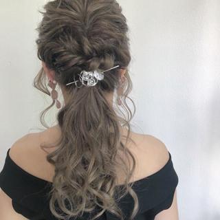 透明感 結婚式ヘアアレンジ ヘアアレンジ セミロング ヘアスタイルや髪型の写真・画像