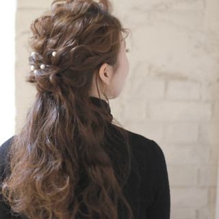 ゆるふわ フェミニン ロング ハーフアップ ヘアスタイルや髪型の写真・画像