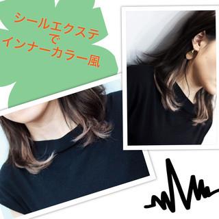 インナーカラー エクステ 黒髪 ガーリー ヘアスタイルや髪型の写真・画像