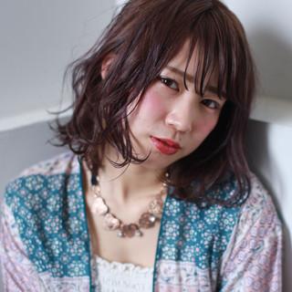 ゆるふわ ミディアム ラベンダーピンク パーマ ヘアスタイルや髪型の写真・画像
