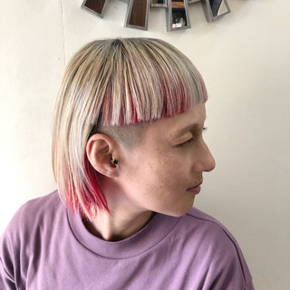 ストリート ボブ ハイライト バレイヤージュ ヘアスタイルや髪型の写真・画像