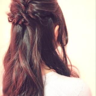 ハーフアップ フェミニン 結婚式 デート ヘアスタイルや髪型の写真・画像