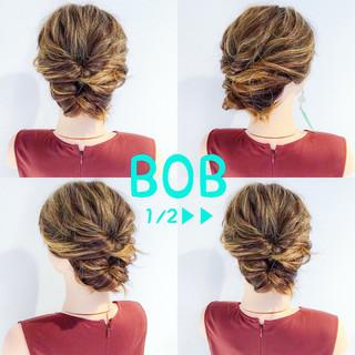 結婚式 ヘアアレンジ ボブ エレガント ヘアスタイルや髪型の写真・画像