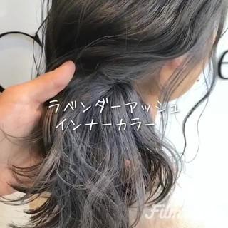 グレージュ 外国人風カラー ミディアム ラベンダー ヘアスタイルや髪型の写真・画像