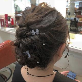 パーティ ヘアアレンジ フェミニン セミロング ヘアスタイルや髪型の写真・画像