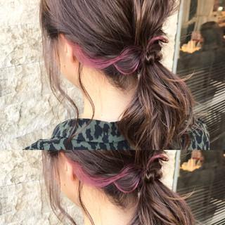 インナーカラー ボブ ヘアアレンジ 結婚式 ヘアスタイルや髪型の写真・画像 ヘアスタイルや髪型の写真・画像