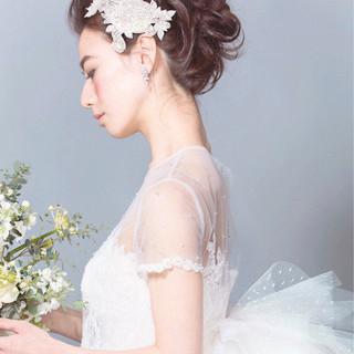 結婚式 セミロング 大人女子 ヘアアレンジ ヘアスタイルや髪型の写真・画像