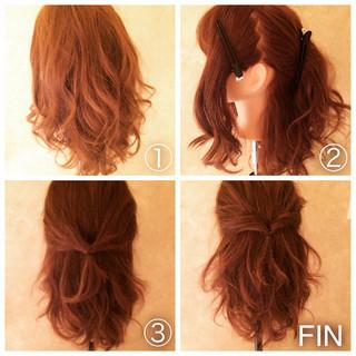簡単ヘアアレンジ ロング フェミニン ヘアアレンジ ヘアスタイルや髪型の写真・画像