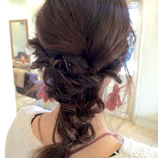 くるりんぱ 編み込み ロング ショート ヘアスタイルや髪型の写真・画像 ヘアスタイルや髪型の写真・画像