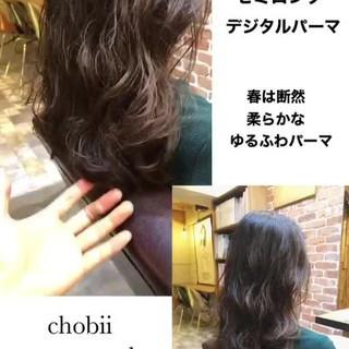 ナチュラル デジタルパーマ シアー 小顔ヘア ヘアスタイルや髪型の写真・画像