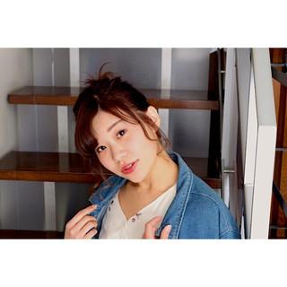 ヘアアレンジ ショート ガーリー ピンク ヘアスタイルや髪型の写真・画像