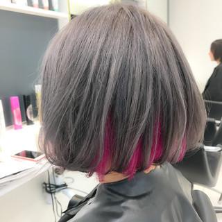 モード ハイトーン ダブルカラー グレージュ ヘアスタイルや髪型の写真・画像
