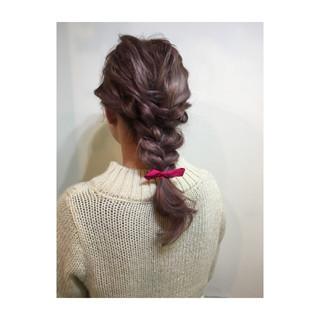 編み込み 簡単ヘアアレンジ ゆるふわ ショート ヘアスタイルや髪型の写真・画像