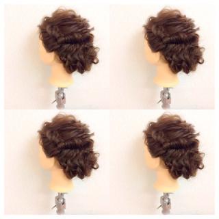 ゆるふわ ヘアアレンジ セミロング 簡単ヘアアレンジ ヘアスタイルや髪型の写真・画像