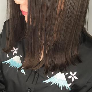 アッシュ ミディアム ヘアアレンジ 暗髪 ヘアスタイルや髪型の写真・画像