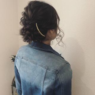 フェミニン ヘアセット ミディアム 編み込み ヘアスタイルや髪型の写真・画像