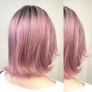 ハイライト ボブ グラデーションカラー バレイヤージュ ヘアスタイルや髪型の写真・画像