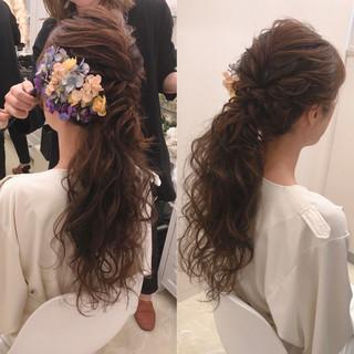 ポニーテールアレンジ ローポニー ローポニーテール フェミニン ヘアスタイルや髪型の写真・画像