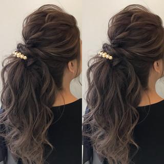 結婚式 ヘアアレンジ 簡単ヘアアレンジ ナチュラル ヘアスタイルや髪型の写真・画像