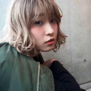 ハイトーン ロブ ストリート 大人かわいい ヘアスタイルや髪型の写真・画像