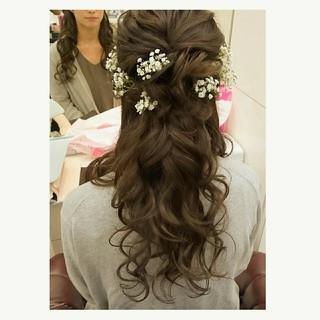 ヘアアレンジ ブライダル 結婚式 ナチュラル ヘアスタイルや髪型の写真・画像