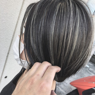 コントラストハイライト ホワイトハイライト ナチュラル 大人ハイライト ヘアスタイルや髪型の写真・画像