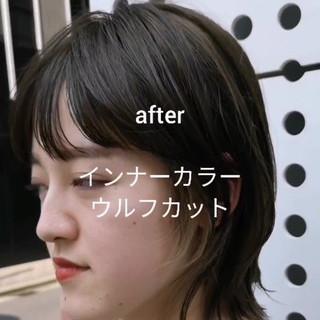 ナチュラルウルフ ウルフレイヤー マッシュウルフ ミディアム ヘアスタイルや髪型の写真・画像