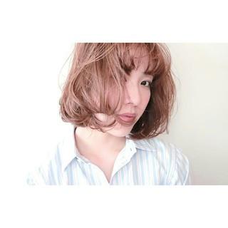デート 大人かわいい フェミニン ボブ ヘアスタイルや髪型の写真・画像