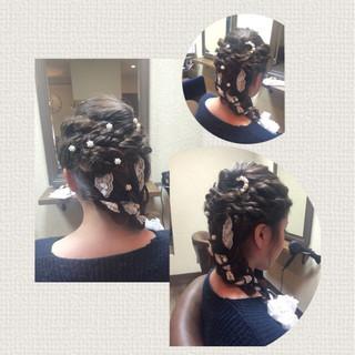 フェミニン ロング 結婚式 ヘアアレンジ ヘアスタイルや髪型の写真・画像