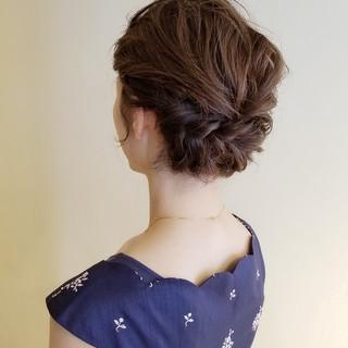 結婚式 結婚式ヘアアレンジ セミロング ヘアアレンジ ヘアスタイルや髪型の写真・画像