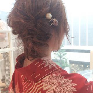 まとめ髪 花火大会 セミロング 夏 ヘアスタイルや髪型の写真・画像