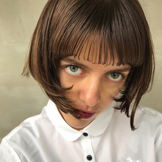 モード 切りっぱなしボブ ショートヘア ボブ ヘアスタイルや髪型の写真・画像