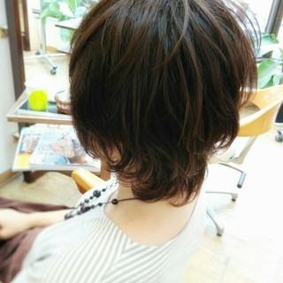 アッシュ ショート パーマ コンサバ ヘアスタイルや髪型の写真・画像