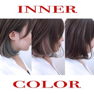 暗髪 大人かわいい カラフルカラー ボブ ヘアスタイルや髪型の写真・画像