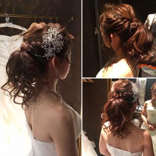 結婚式 アップスタイル 花嫁 ブライダル ヘアスタイルや髪型の写真・画像