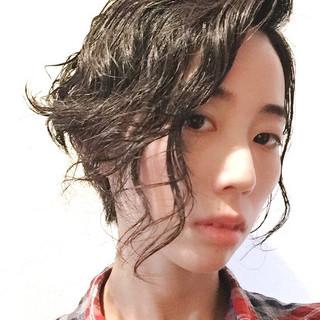 ショート パーマ モード 黒髪 ヘアスタイルや髪型の写真・画像