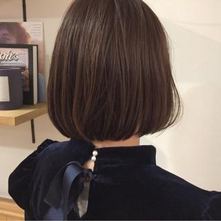 ワンカール 切りっぱなし ボブ ナチュラル ヘアスタイルや髪型の写真・画像