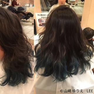 ストリート 暗髪 セミロング アッシュ ヘアスタイルや髪型の写真・画像