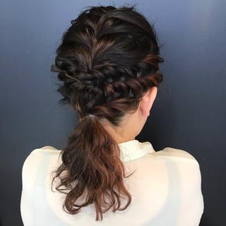編み込み セミロング パーティ 結婚式 ヘアスタイルや髪型の写真・画像