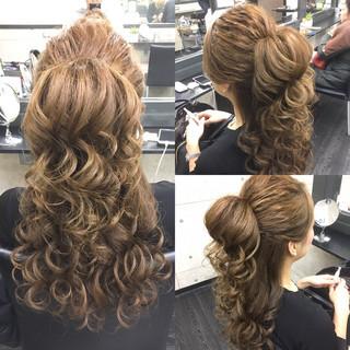 ヘアアレンジ ハーフアップ 大人かわいい ロング ヘアスタイルや髪型の写真・画像