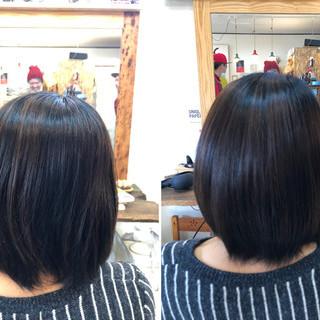 ボブ 小顔ヘア 髪質改善 しっとり ヘアスタイルや髪型の写真・画像