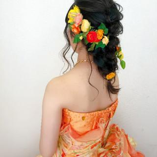 編みおろし ヘアセット 結婚式 ブライダル ヘアスタイルや髪型の写真・画像