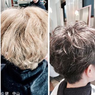 外国人風 ストリート グレージュ シルバー ヘアスタイルや髪型の写真・画像