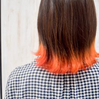 外ハネボブ ガーリー 裾カラー 切りっぱなしボブ ヘアスタイルや髪型の写真・画像