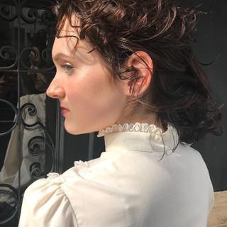 前髪 簡単ヘアアレンジ ミディアム モード ヘアスタイルや髪型の写真・画像