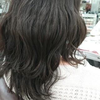 グレージュ キャラデコミュゼリア セミロング ブルージュ ヘアスタイルや髪型の写真・画像