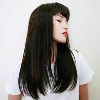 黒髪 モード ロング 暗髪 ヘアスタイルや髪型の写真・画像